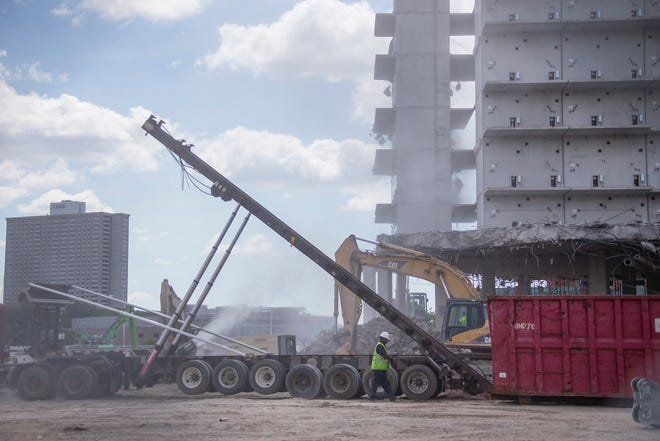 Demolition has begun for the failed Wayne County Jail project in Detroit Thursday, July 19, 2018.