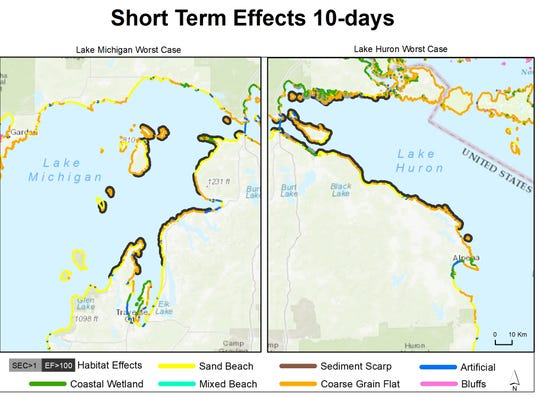 A diagram from a Michigan Technological University report shows shoreline habitats that would exceed thresholds for socioeconomic impacts 10 days after a worst-case spill from Enbridge's Line 5 in either Lake Michigan or Lake Huron, depending on the circumstances of the spill.