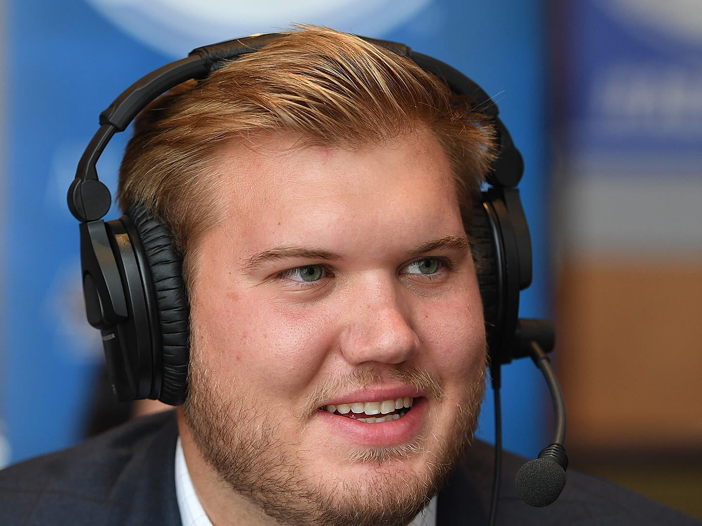 Clemson offensive lineman Mitch Hyatt is interviewed on radio row at the ACC Football Kickoff in Charlotte, N.C., Thursday, July 19, 2018.