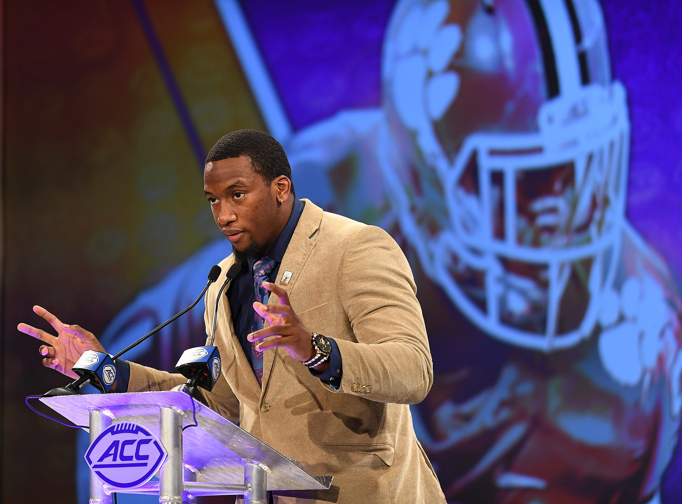 Clemson defensive lineman Clelin Ferrell answers questions at the ACC Football Kickoff in Charlotte, N.C., Thursday, July 19, 2018.