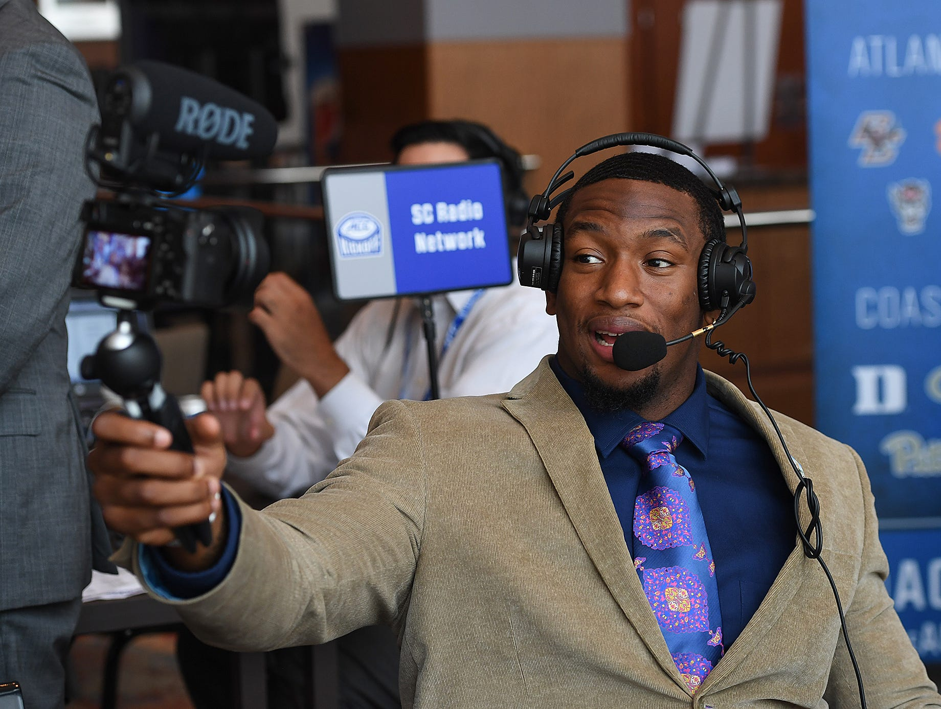 Clemson defensive lineman Clelin Ferrell videos himself on radio row at the ACC Football Kickoff in Charlotte, N.C., Thursday, July 19, 2018.