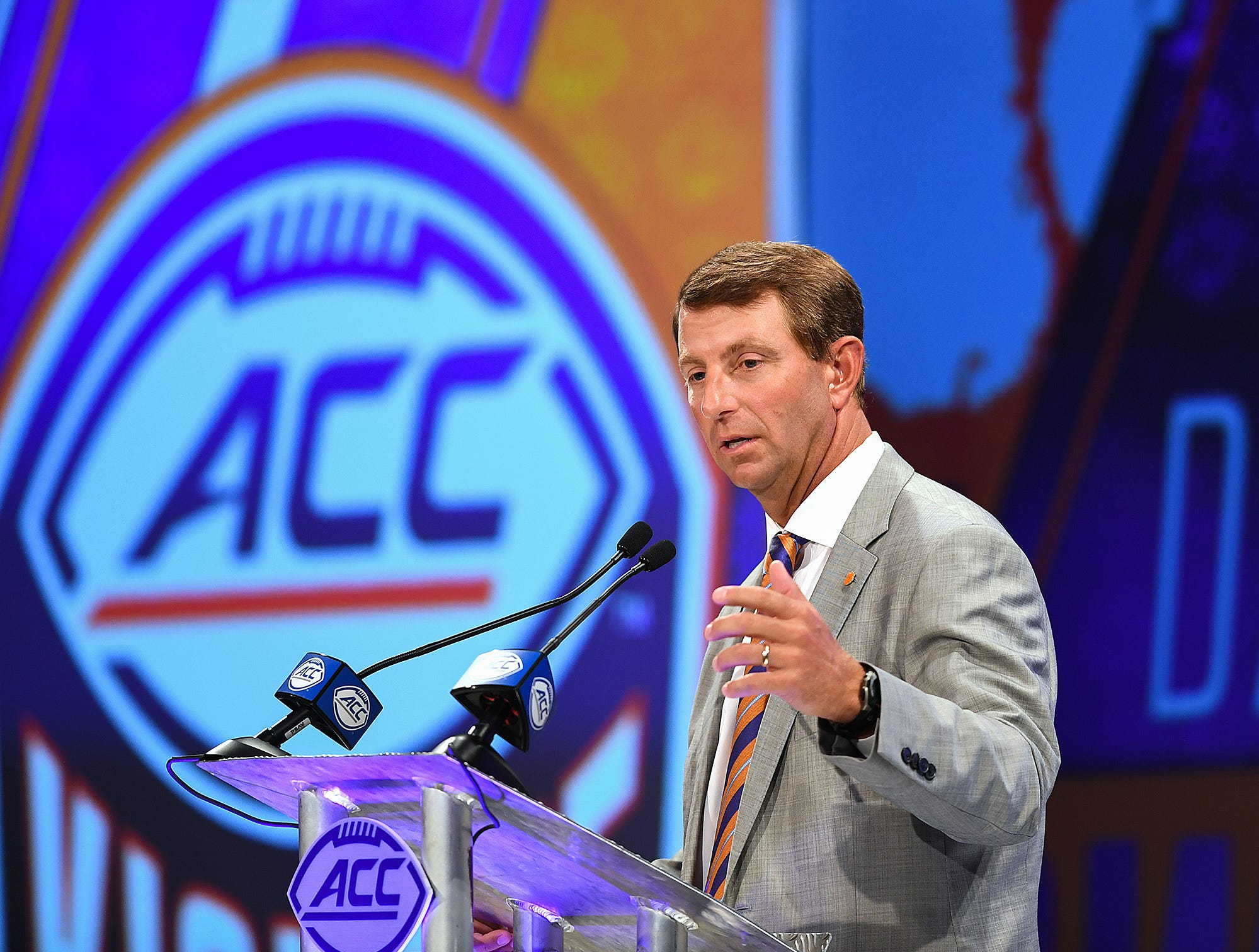 Clemson head coach Dabo Swinney answers questions at the ACC Football Kickoff in Charlotte, N.C., Thursday, July 19, 2018.