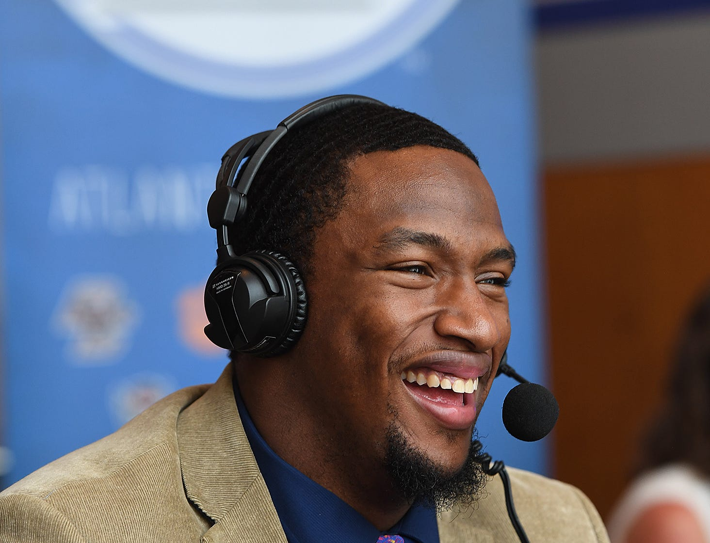 Clemson defensive lineman Clelin Ferrell is interviewed on radio row at the ACC Football Kickoff in Charlotte, N.C., Thursday, July 19, 2018.