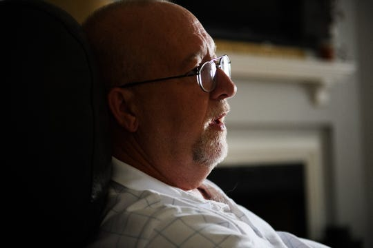 Keith Moreland speaks about his recent diagnosis of having early onset Alzheimer's in his home in Anderson on Tuesday, July 18, 2018.