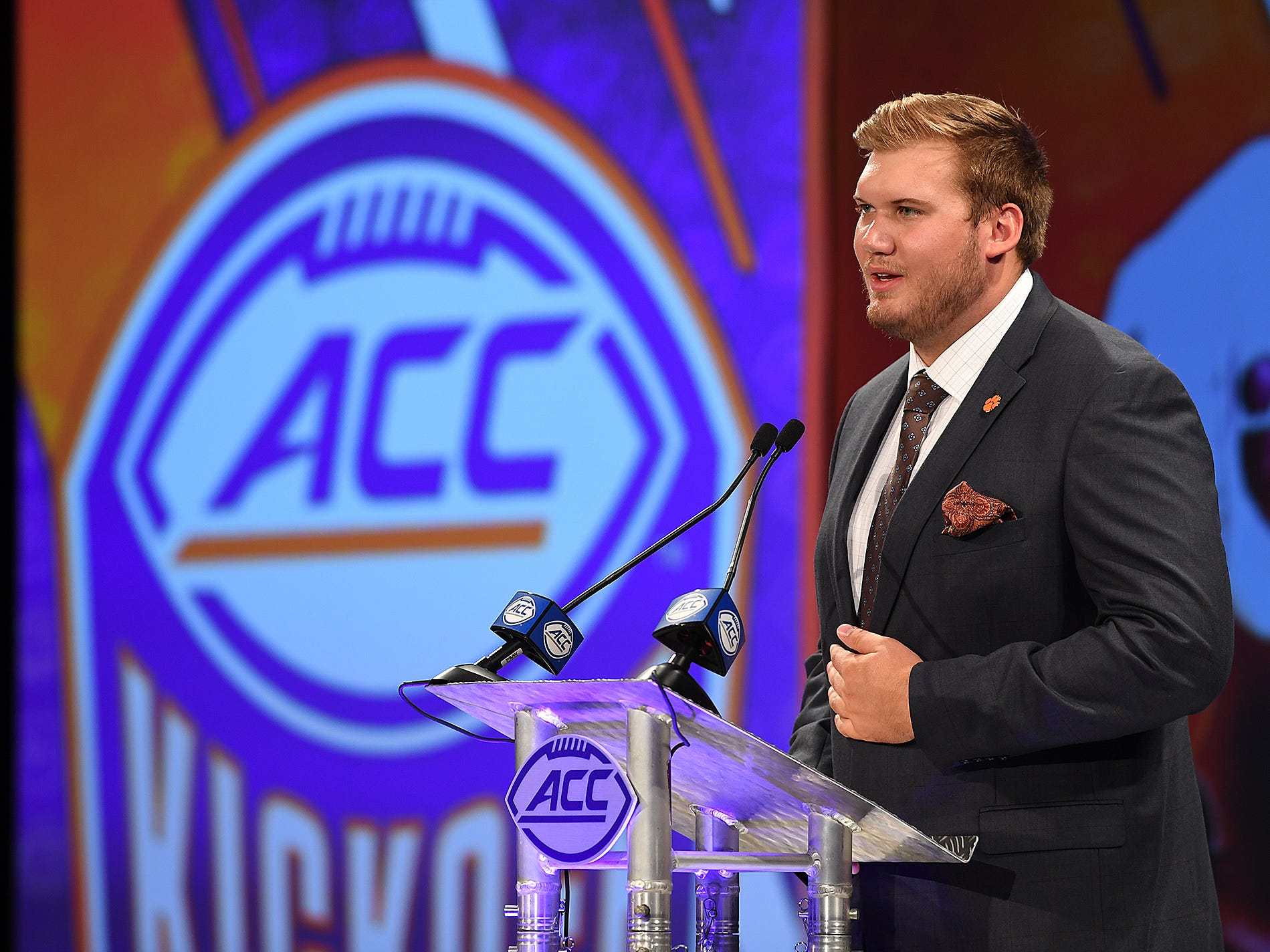 Clemson offensive lineman Mitch Hyatt answers questions at the ACC Football Kickoff in Charlotte, N.C., Thursday, July 19, 2018.