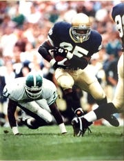 Former Notre Dame and East Lansing football standout Randy Kinder is part of this year's class being inducted into the Greater Lansing Sports Hall of Fame.