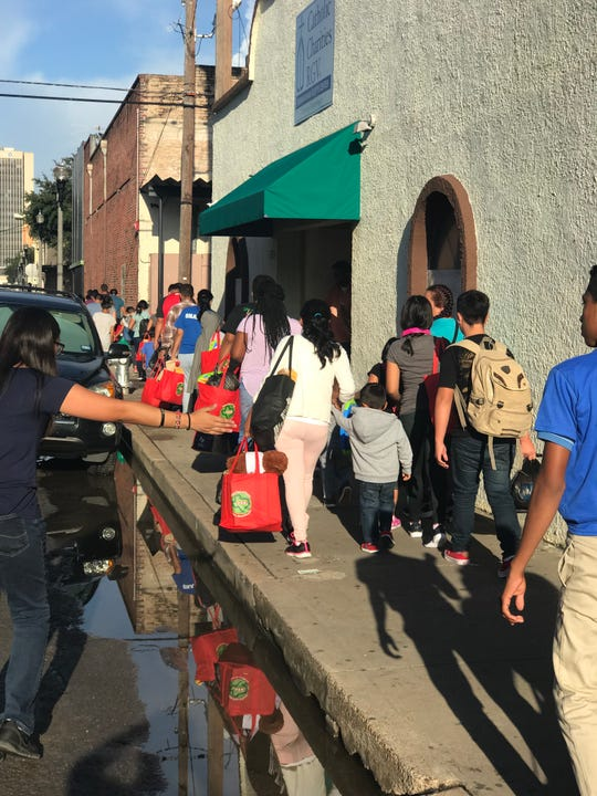 Refugee families on their way from the Humanitarian Respite Center to the bus station in McAllen, Texas