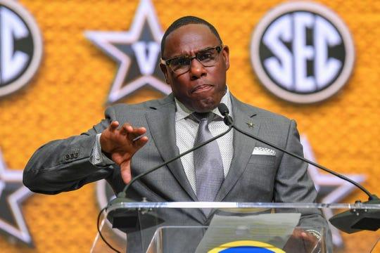 Jul 19, 2018; Atlanta, GA, USA; Vanderbilt Commodores head coach Derek Mason addresses the media during SEC football media day at the College Football Hall of Fame.