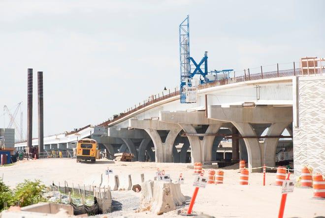 Pensacola Bay Bridge construction on Thursday, July 19, 2018.
