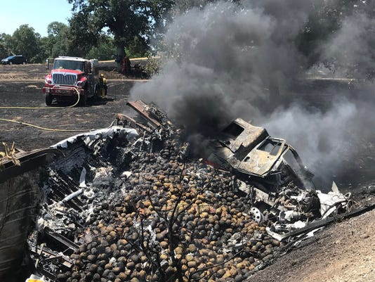 Charred pineapples on Interstate 5