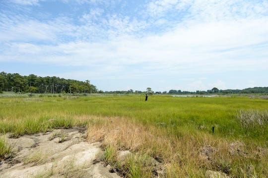 The Tangier Sound is separated from the island marsh water on Deal island by a thin strip of beach and grassland. Researchers from George Mason University are conducting a year-long study to investigate the impact the marsh has on flood mitigation.