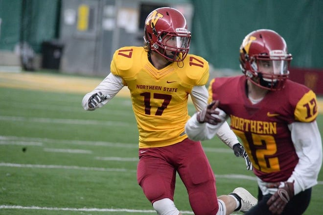 Hunter Hansen (No. 17) competes in the Northern State spring game. After redshirting last year, Hansen will be playing for the Wolves this fall.