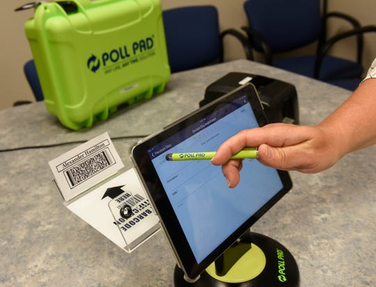 Voter information is checked on a new electronic system during a demonstration Thursday, July 19, at the Stearns County Auditor's Office in St. Cloud.