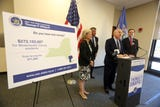 New York State Comptroller Thomas  DiNapoli encouraged state residents to claim their lost funds during a news conference at the White Plains Library