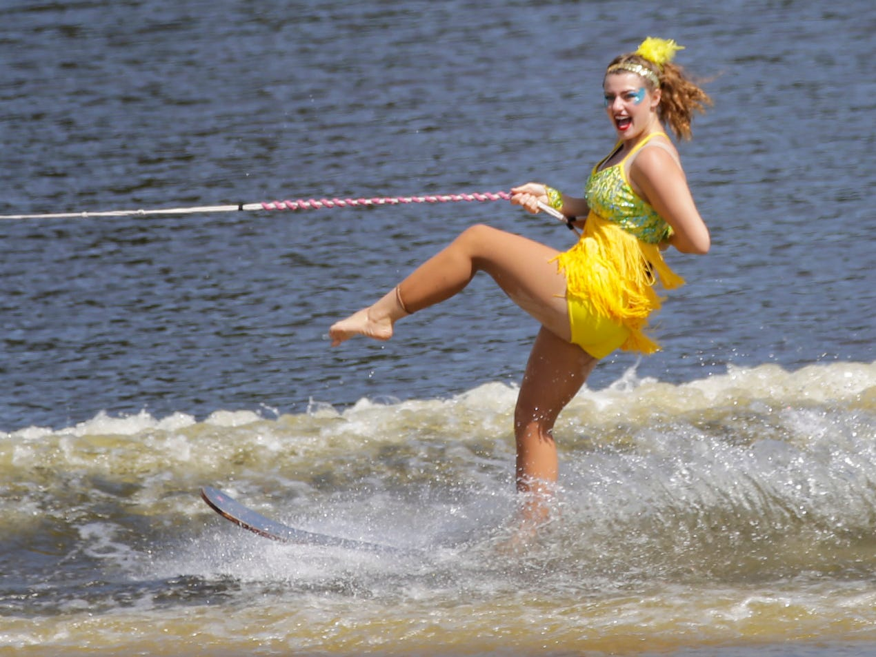 Demi DeBelak competes in the swivel category during the Wisconsin State Water Ski Show Championships on Lake Wazeecha in Kellner Thursday, July 19, 2018.