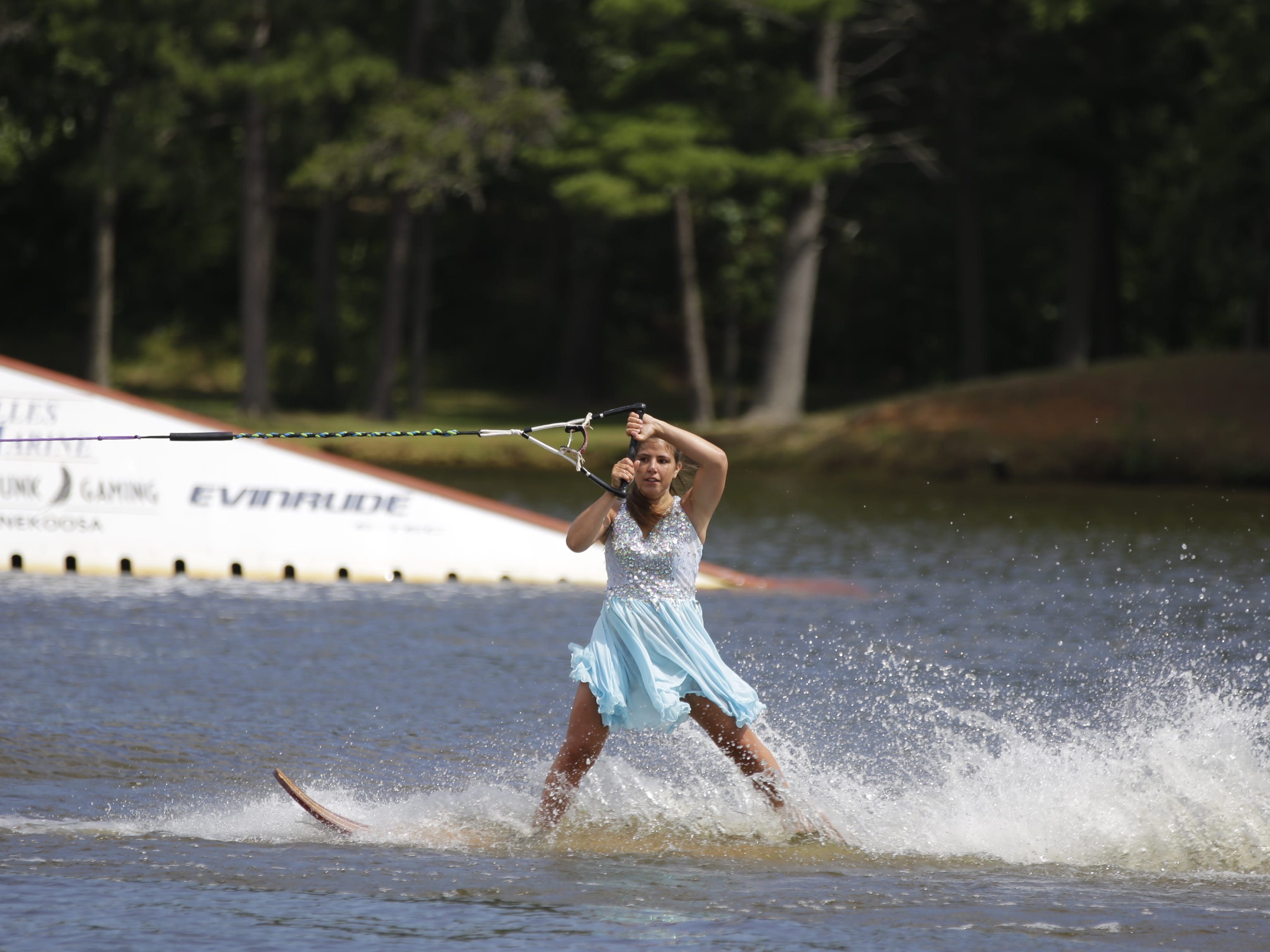 Shawna Broullire competes in the swivel category during the Wisconsin State Water Ski Show Championships on Lake Wazeecha in Kellner Thursday, July 19, 2018.