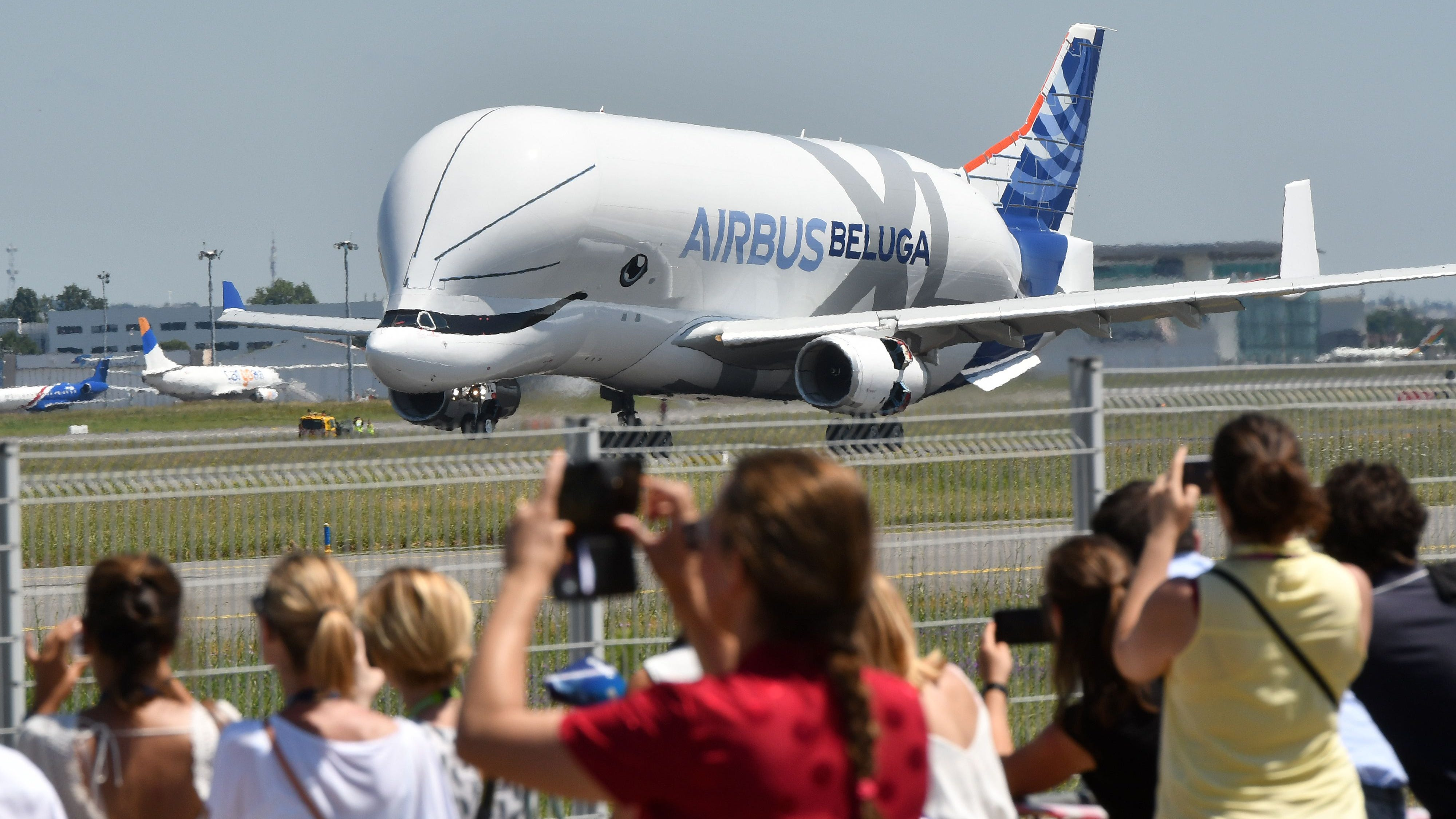 An Airbus 'BelugaXL' aircraft comes into land at Toulouse-Blagnac on July 19, 2018, after its maiden test flight of some four hours.