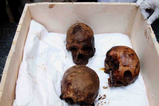 Egyptian archaeologists display skulls of three decomposed mummies found inside a black granite sarcophagus that was discovered in Sidi Gaber district, Alexandria, Egypt.