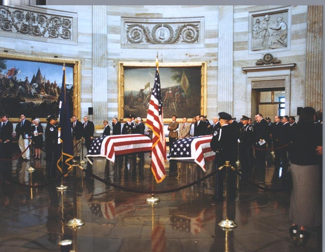 Capitol Police Officer Jacob Chestnut and Det. John Gibson were laid in honor at the U.S. Capitol, near where they were killed.