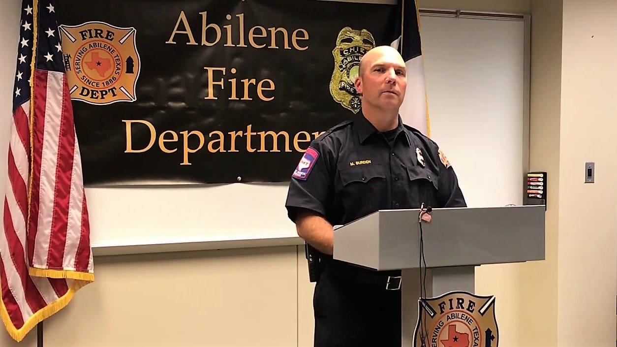 Michael Burden, deputy fire chief for Abilene Fire Department, discusses on Friday, July 20, 2018, a fatal fire on Pamela Drive.