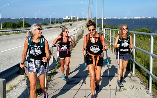 Lori White, Ashley Johnson, Jenny Pruett, Casey Hahn and Coral Johnson (not pictured) in Merritt Island, preparing for an extreme endurance hike to raise money for victims of sex trafficking.