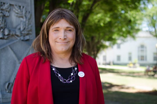 Christine Hallquist, a Democratic candidate for governor, is pictured in Burlington on July 19, 2018.
