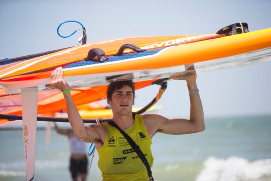 Geronimo Nores  wins the RS:X title on the final day of the Youth World Sailing Championships in Corpus Christi Bay on Friday, July 20, 2018.