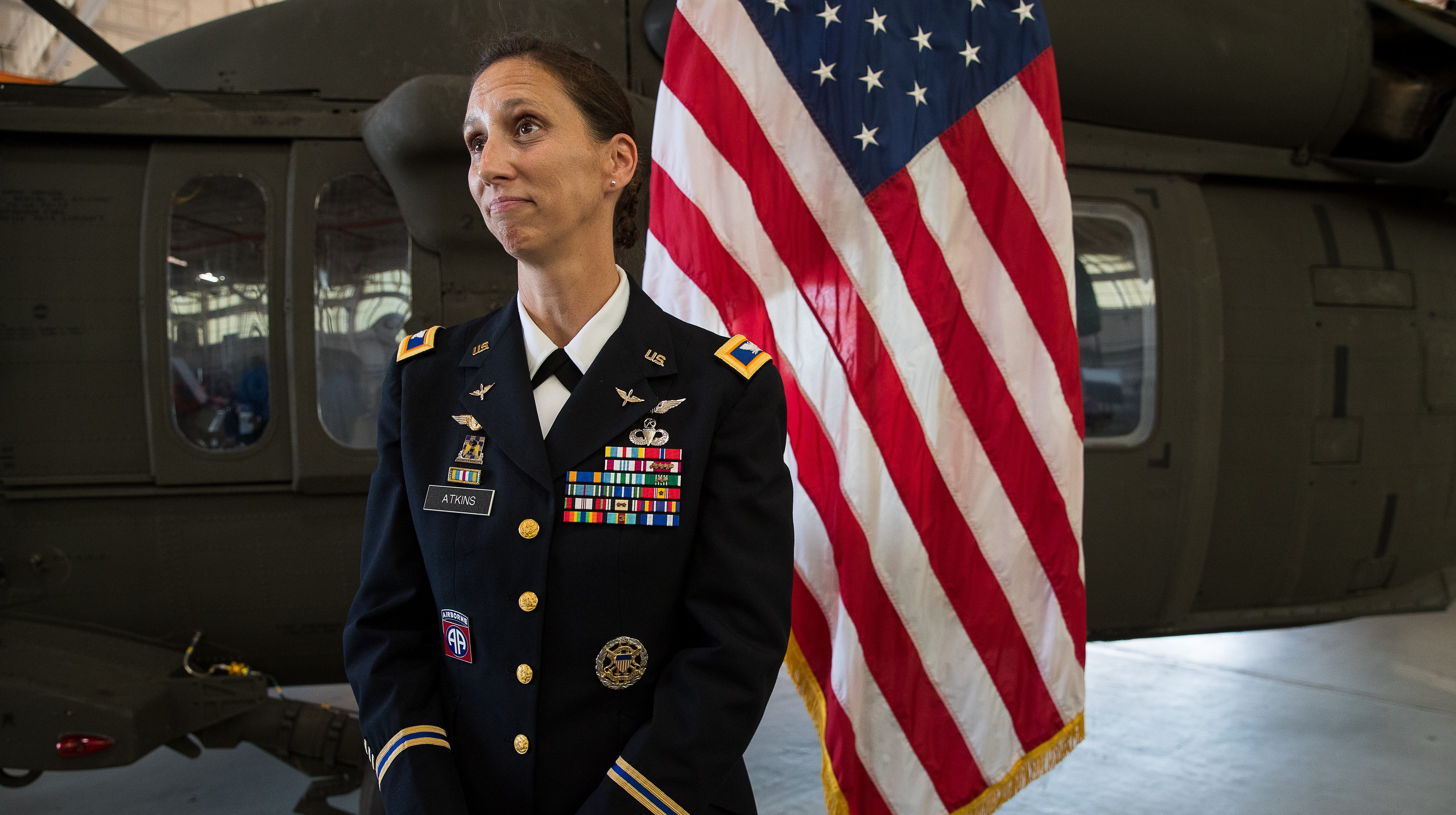 Col. Gail Atkins the new commander of the Corpus Christi Army Depot's speaks after the change of command ceremony at the base on Friday, July 20, 2018.