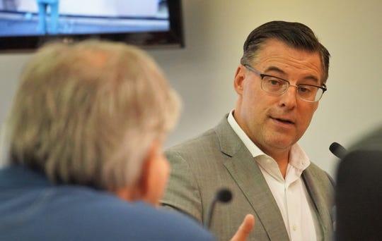 Sean Strawbridge, CEO for the Port of Corpus Christi, addresses members of the Port Aransas City Council on July 19, 2018.