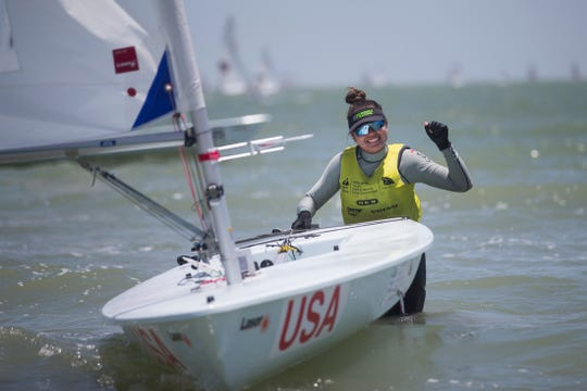 Charlotte Rose celebrates after winning the laser radial girls  division on the final day of the Youth World Sailing Championships in Corpus Christi Bay on Friday, July 20, 2018.