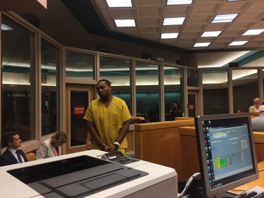 Domynyk Gilliam appears in court on July 20, 2018.