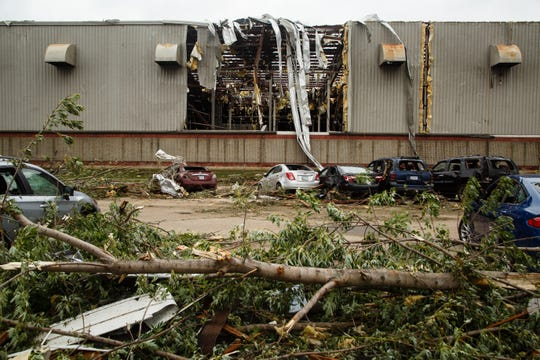 The Lennox plant was shredded by yesterday's tornadoes and today company officials are assessing the damage on Friday, July 20, 2018 in Marshalltown. Yesterday, tornadoes ripped through central Iowa causing major damage but only minor injuries have been reported so far.