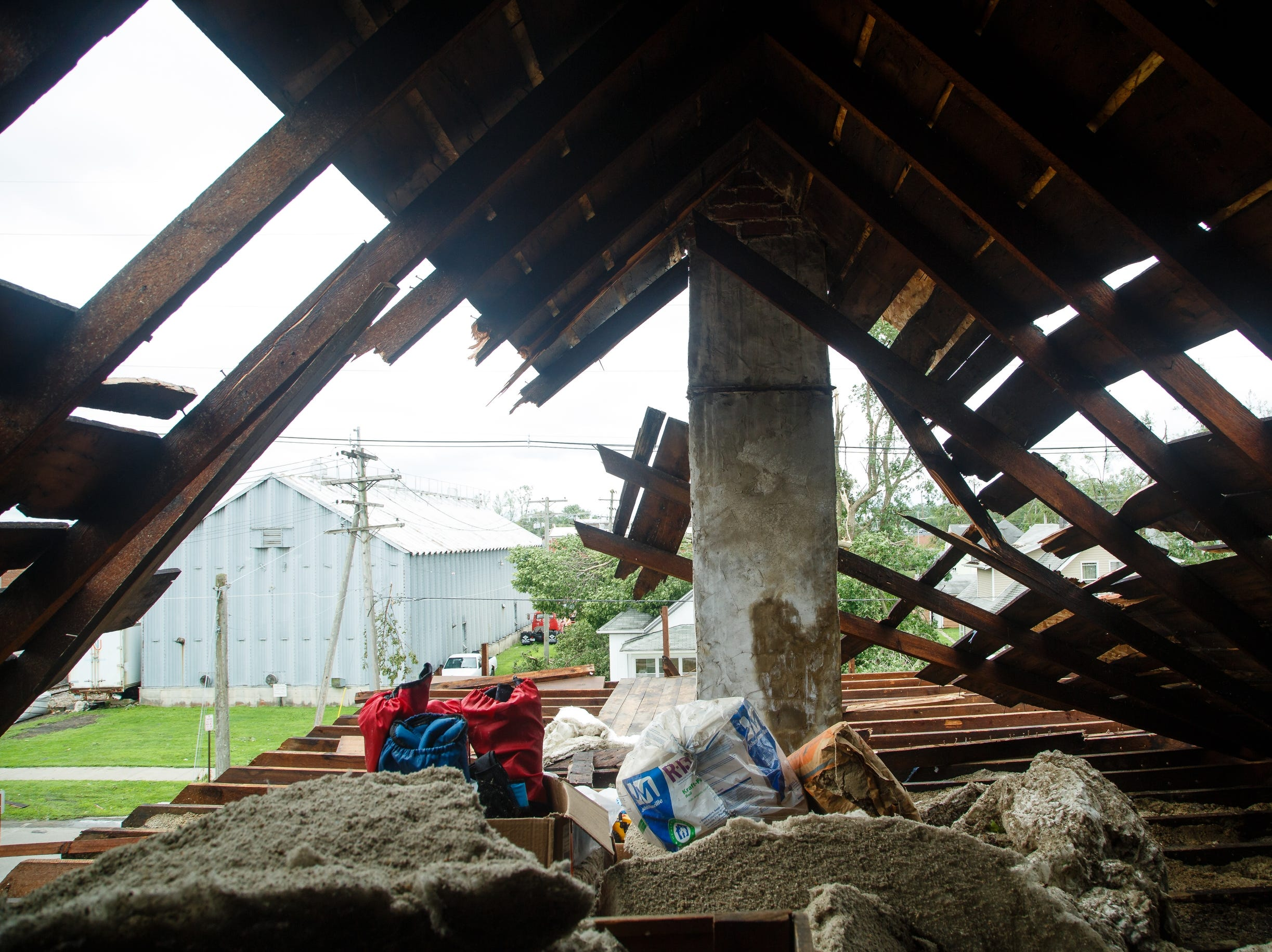The attic of the Kunkel home sits roofless on Friday, July 20, 2018. Tornadoes swept through central Iowa yesterday causing severe damage but only minor injuries have been reported so far.