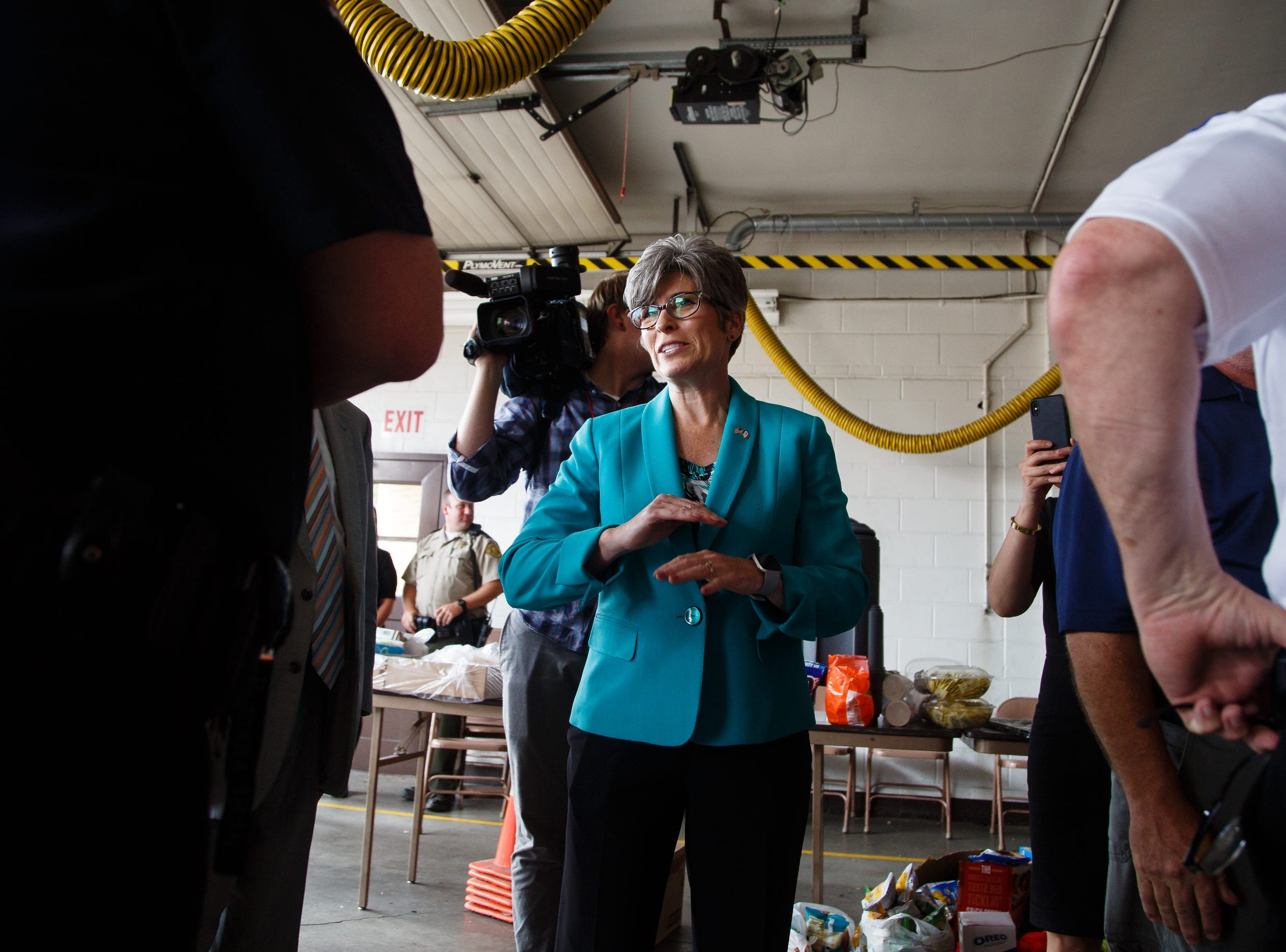 Sen. Joni Ernst arrives to tour the damage in Marshalltown on Friday, July 20, 2018. Yesterday, tornadoes ripped through central Iowa causing major damage but only minor injuries have been reported so far.