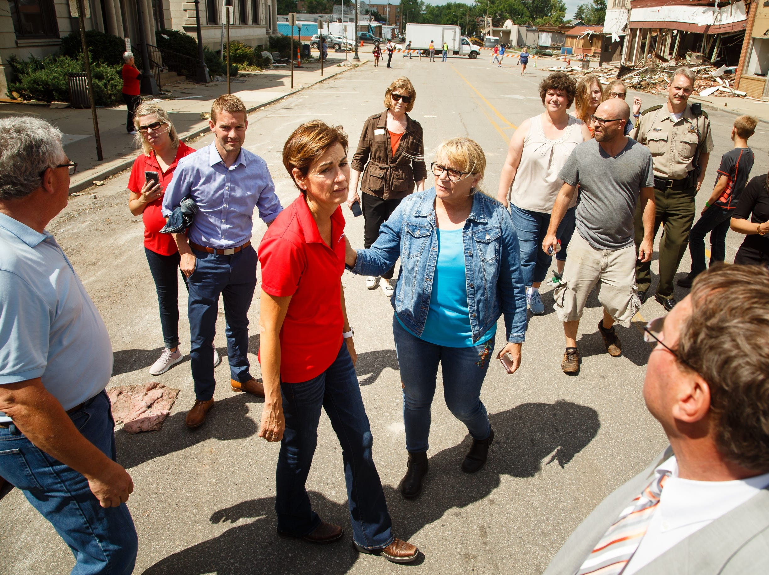 Iowa Governor Kim Reynolds tours the damage in Marshalltown on Friday, July 20, 2018. Yesterday, tornadoes ripped through central Iowa causing major damage but only minor injuries have been reported so far.