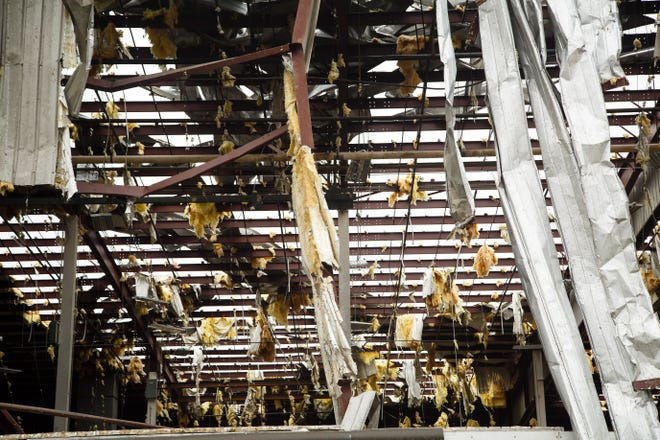 The Lennox plant in Marshalltown, Iowa, was damaged after a tornado touched down on Thursday, July 19, 2018.