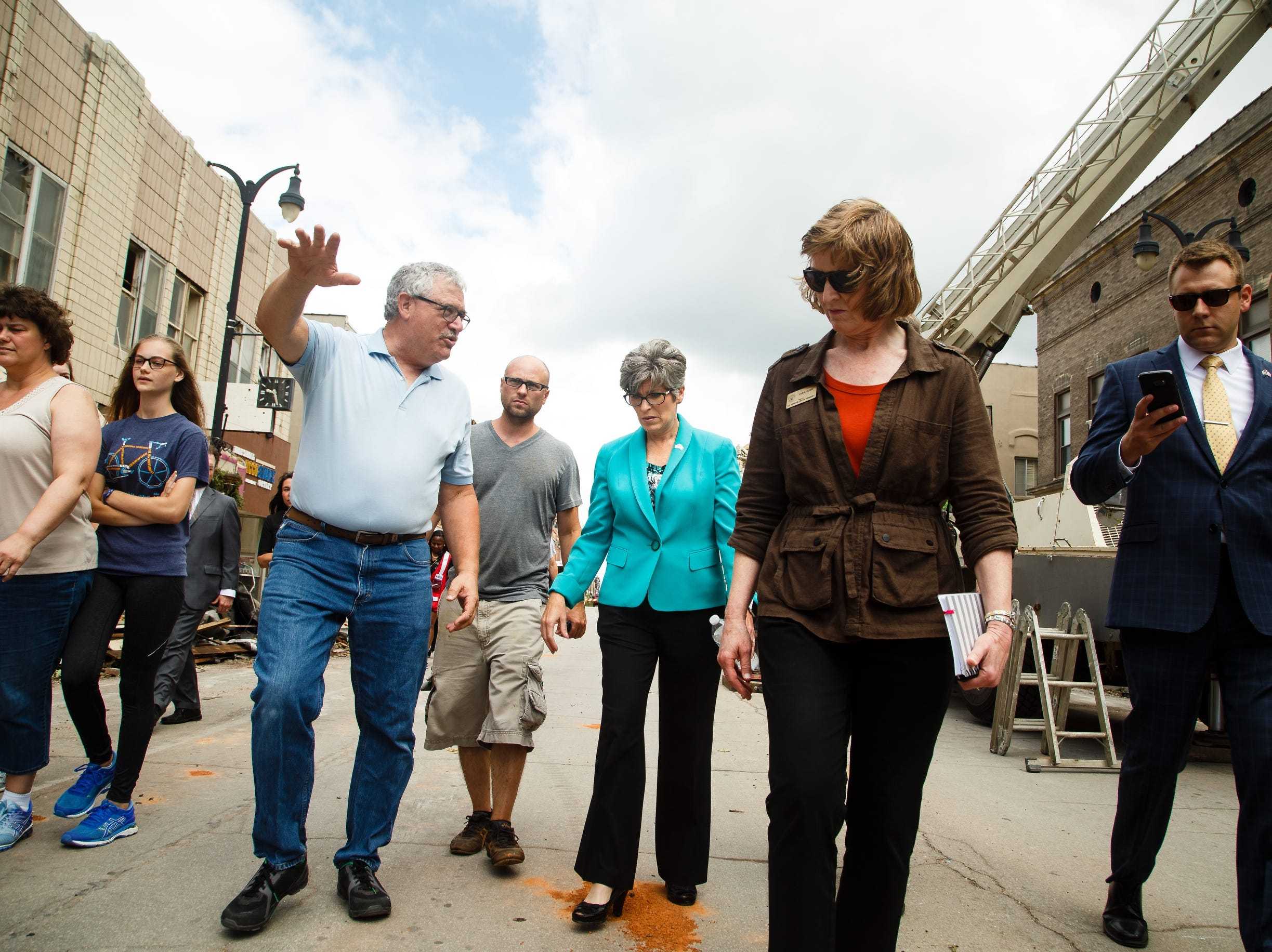 Sen. Joni Ernst tours the damage in Marshalltown on Friday, July 20, 2018. Yesterday, tornadoes ripped through central Iowa causing major damage but only minor injuries have been reported so far.