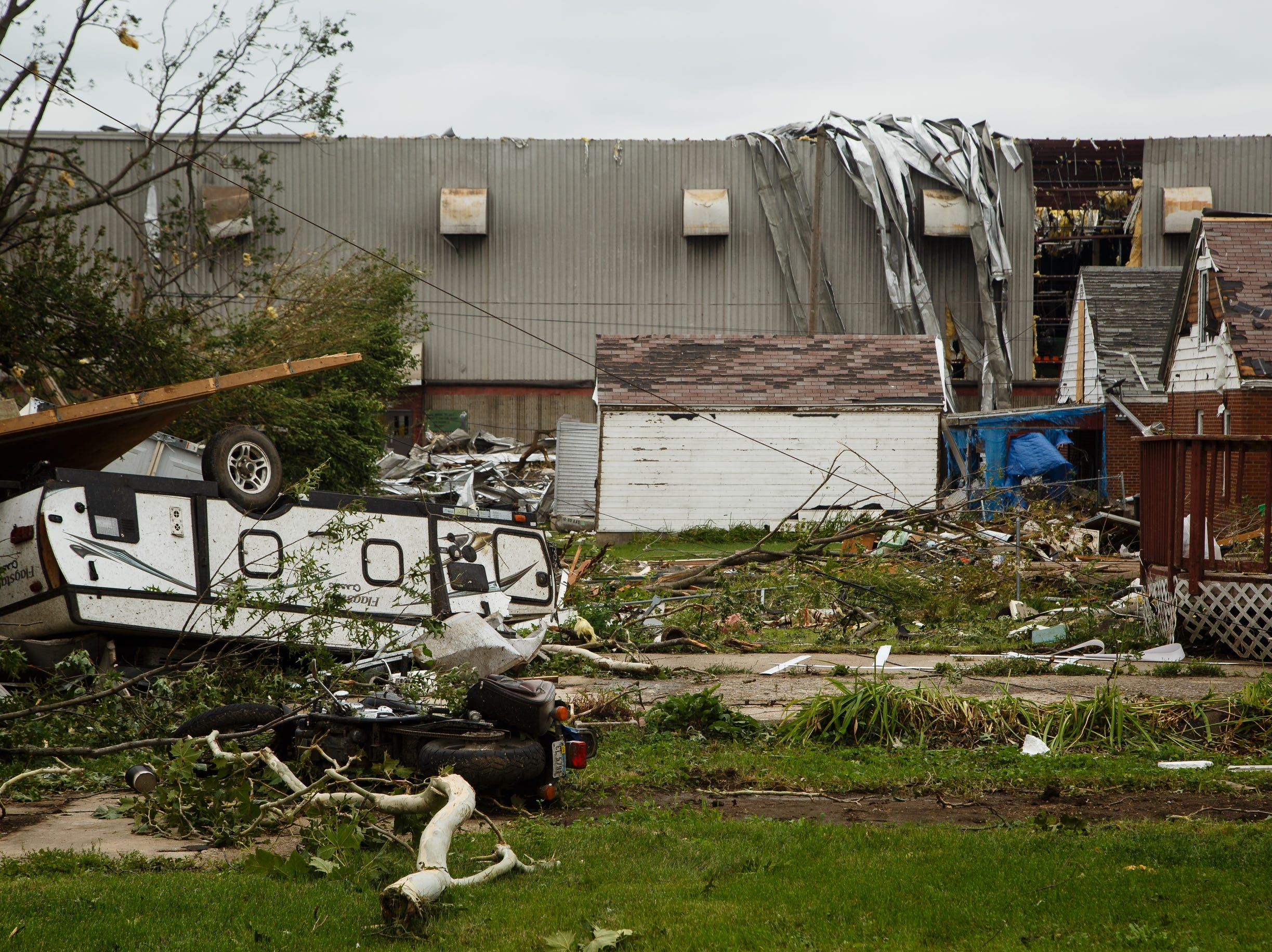 Clean up continues in Marshalltown near the Lennox plant on Friday, July 20, 2018. Yesterday, tornadoes ripped through central Iowa causing major damage but only minor injuries have been reported so far.