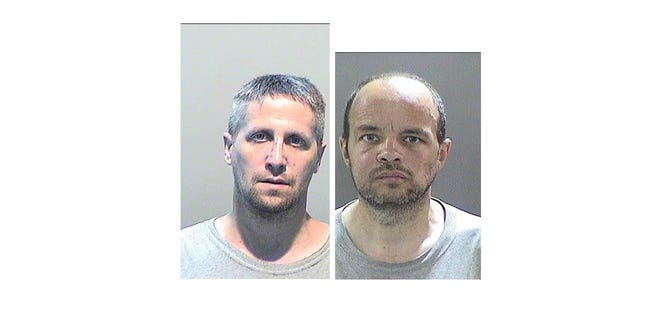 Eric Strong, left, and Clarence Lake, both of Taylor, were caught July 16, 2018 dumping trash on Detroit's east side.