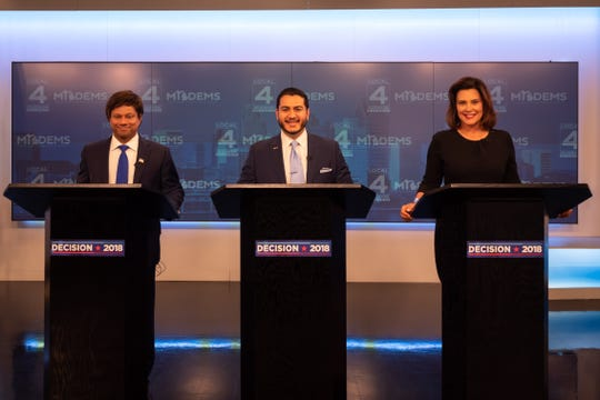Democratic candidates for governor Shri Thanedar, left, Abdul El-Sayed and  Gretchen Whitmer gathered in Detroit.
