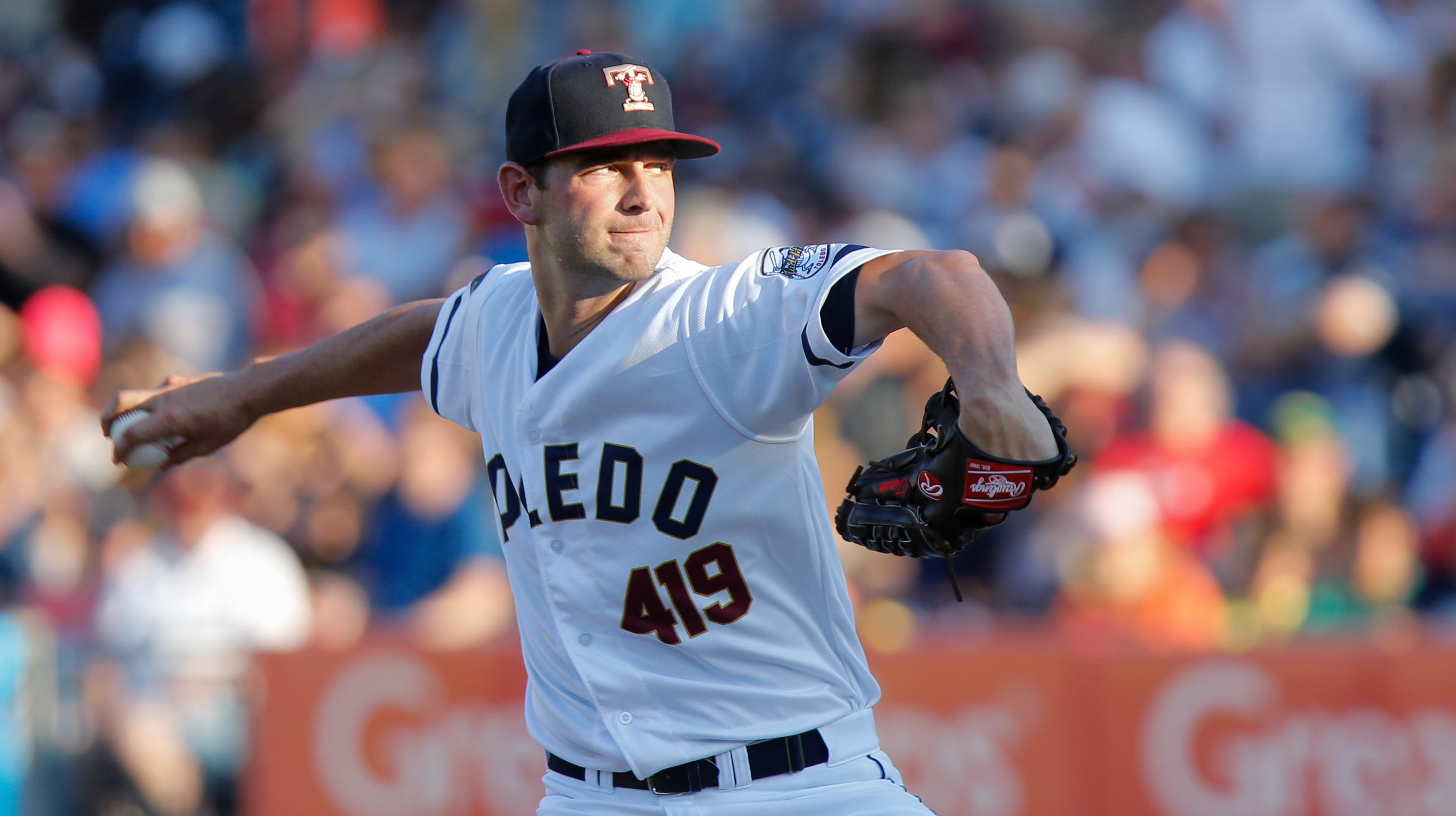 Toledo Mud Hens starting pitcher Jacob Turner delivers a pitch during a game between the Louisville Bats and the Toledo Mud Hens on June 16.