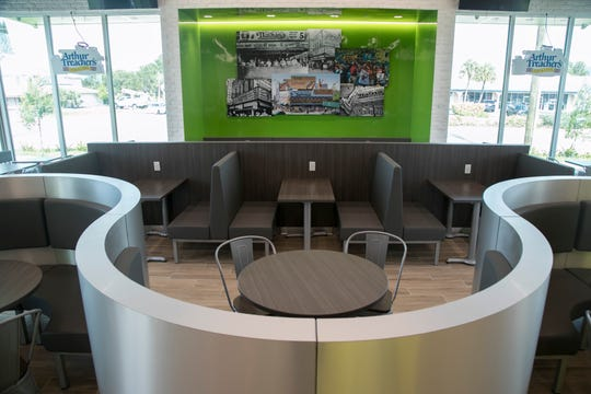 The new Nathan's Famous in Cape Coral has much more modern decor compared to the classic-looking Fort Myers location.