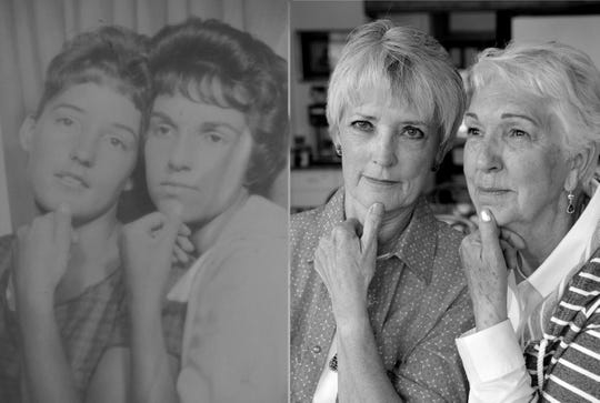 Rita Morris Christiaens and Vicki Billips Beck reenact a photo taken in a photo booth when they were about 18 years old.