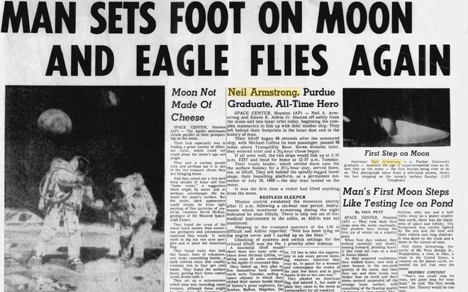 The Journal & Courier on July 21, 1969 when Neil Armstrong landed on the moon.
