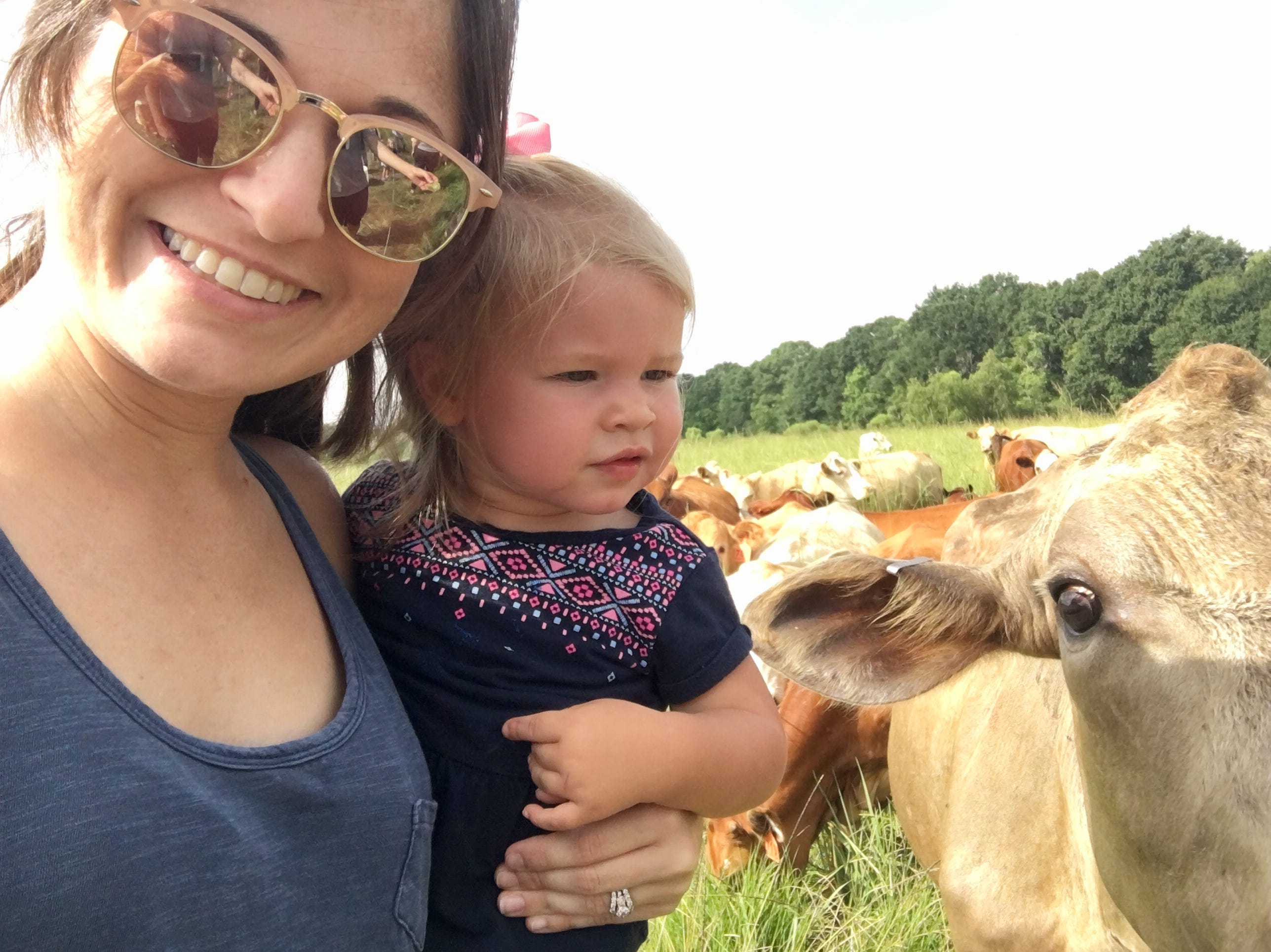 Travel and tourism reporter Leigh Guidry is visiting Acadiana farms with her husband Eric and daughters Marie, 1, and Avery, 4. They visited Brookshire Farm in Abbeville July 20, 2018.
