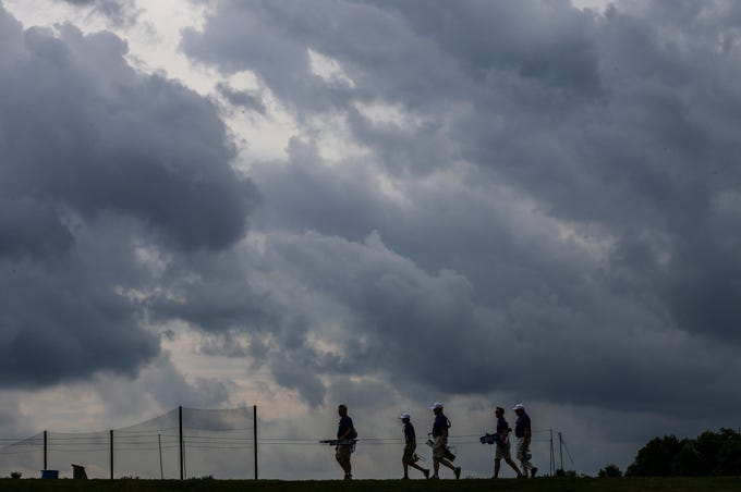 Storm clouds roll in at the Barbasol Championship as Friday's play was stopped in the afternoon due to thunderstoms and high winds.