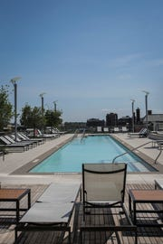 The outdoor pool inside the Omni Hotel in downtown Louisville on Tuesday, July 19, 2018.