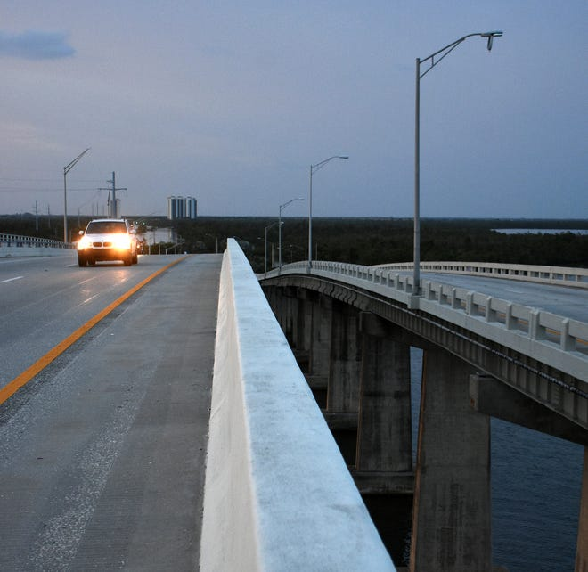Streetlights above the Jolley Bridge, many knocked out by Hurricane Irma, are scheduled to be repaired before the end of the year, according to FDOT.