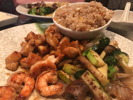 Choose hibachi entrees like this shrimp and teriyaki chicken meal with fried rice, vegetables and miso or clear soup ($9) at Hibachi of Japan at the intersection of Airport Pulling and Pine Ridge roads in Naples.