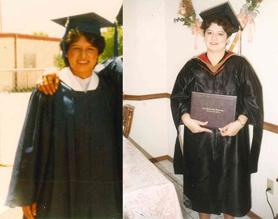 Ermelinda Quintela started an NMSU scholarship serving Loving High School graduates. On the left, she's graduating from high school in May 1983 and, at the time, was unsure of her academic future. By 1994, she had earned her fourth degree from NMSU – a master's degree – pictured on the left.